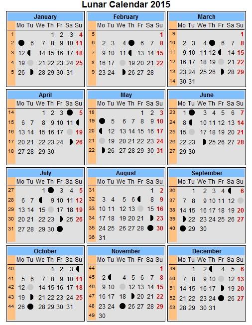 Lunar Phase Calendar 2015 Printable | Calendar Template 2016